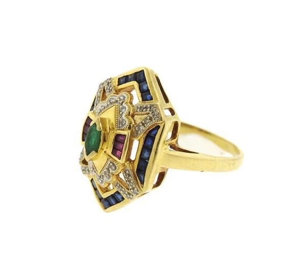 18K Gold Diamond Multi Gemstones Geometric  Ring - 2