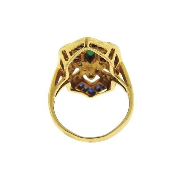 18K Gold Diamond Multi Gemstones Geometric  Ring - 3