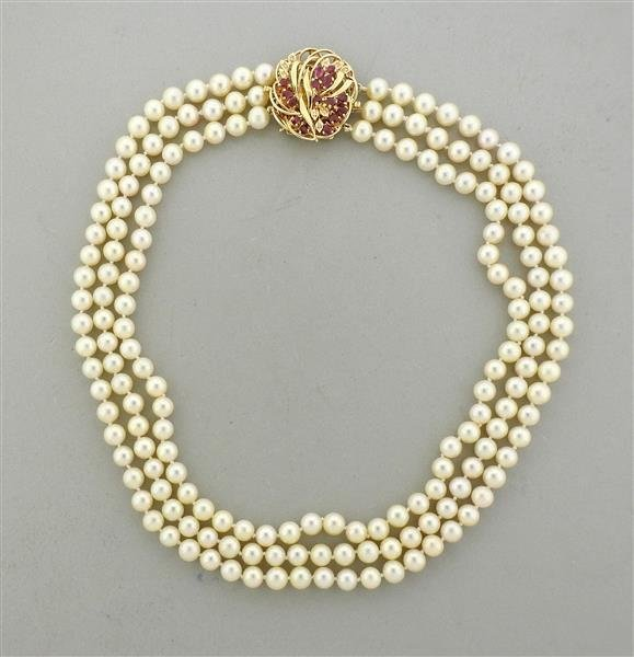 14K Gold Ruby Diamond Clasp Pearl Necklace Pendant