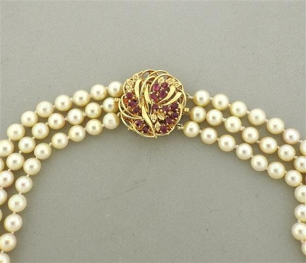 14K Gold Ruby Diamond Clasp Pearl Necklace Pendant - 2