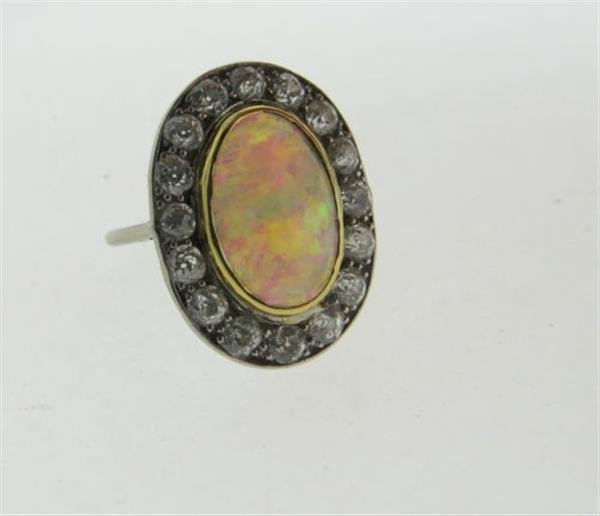 Antique 18k Gold Opal Diamond Ring - 2
