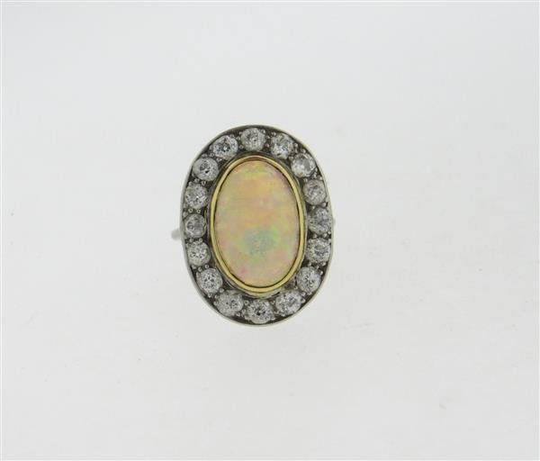 Antique 18k Gold Opal Diamond Ring - 3