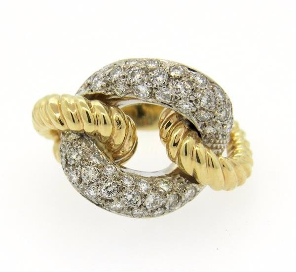 14K Two Tone Gold Diamond Knot Ring