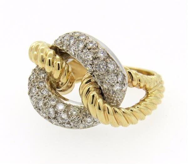 14K Two Tone Gold Diamond Knot Ring - 2