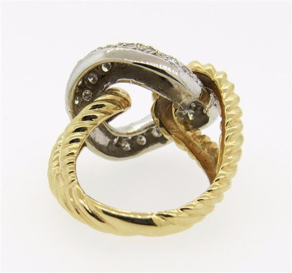 14K Two Tone Gold Diamond Knot Ring - 4