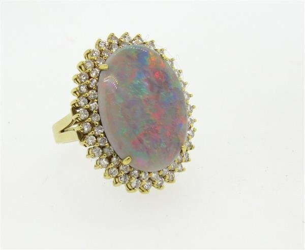 18k Gold Diamond Opal Large Cocktail Ring