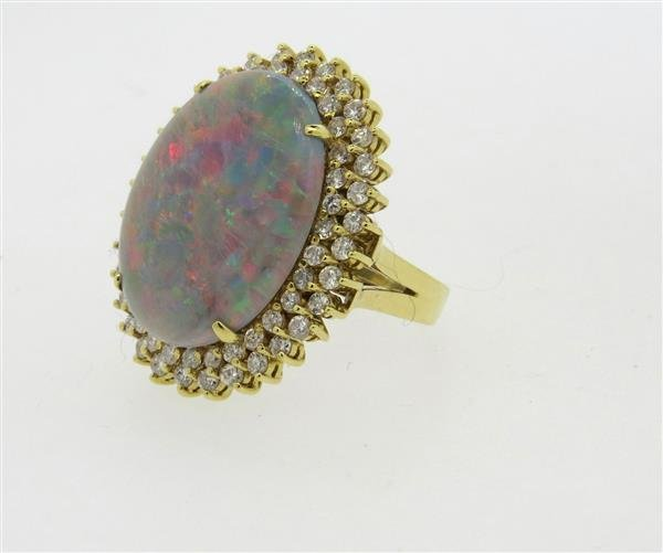 18k Gold Diamond Opal Large Cocktail Ring - 3