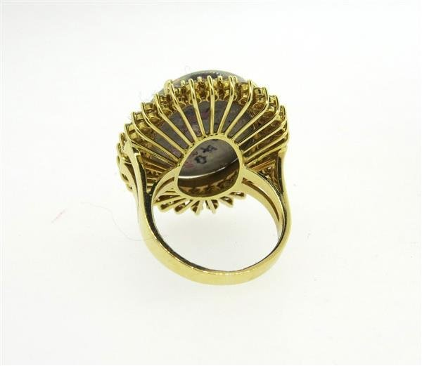 18k Gold Diamond Opal Large Cocktail Ring - 4