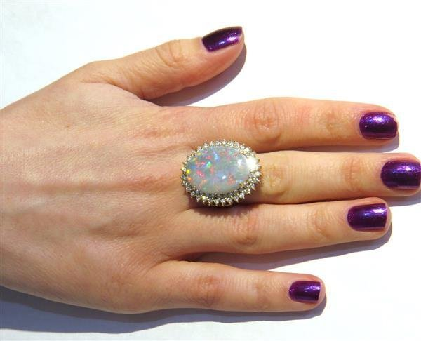 18k Gold Diamond Opal Large Cocktail Ring - 5