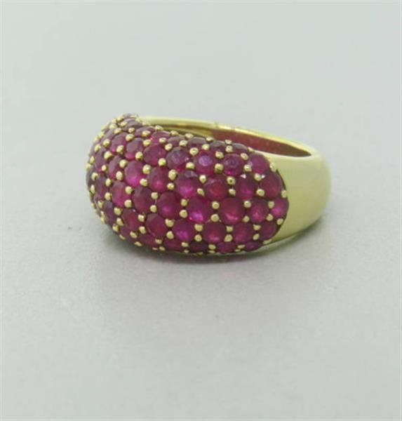 Ruby 18k Gold Dome Ring - 2