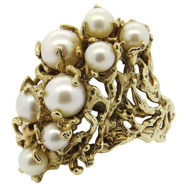 1970s Naturalistic Pearl 18k Gold Cocktail Ring