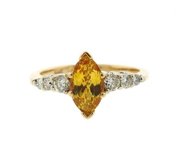 14K Gold Diamond Yellow Sapphire Ring