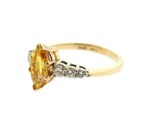 14K Gold Diamond Yellow Sapphire Ring - 2