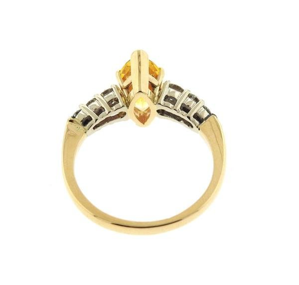 14K Gold Diamond Yellow Sapphire Ring - 3