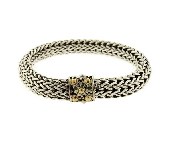 John Hardy Dot 18K Gold Sterling  Silver Braid Bracelet