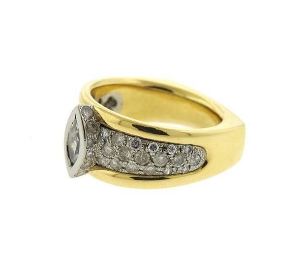 18K Gold Diamond Engagement Ring - 2