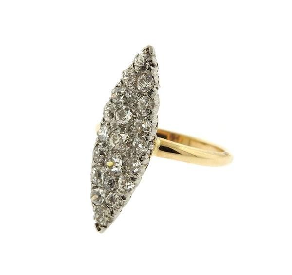 Antique Victorian 14K Gold Diamond Cocktail Ring - 2
