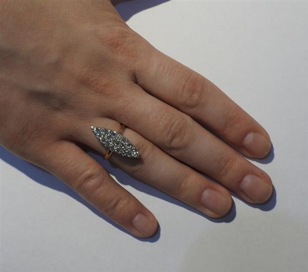 Antique Victorian 14K Gold Diamond Cocktail Ring - 4