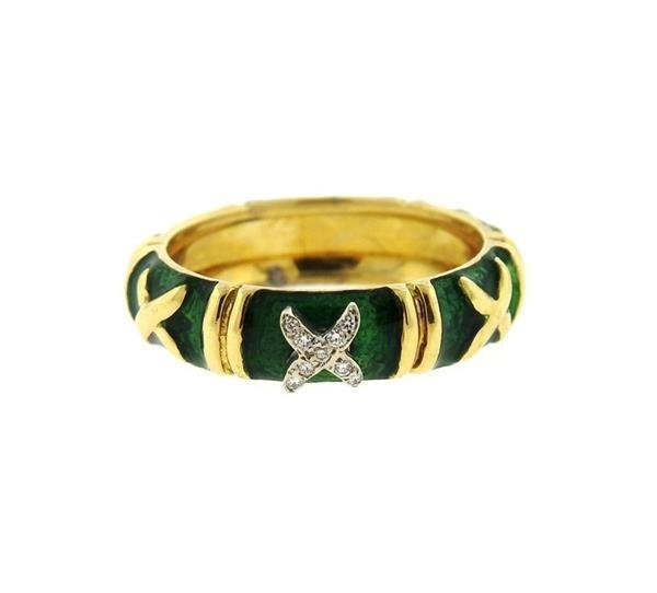 Hidalgo 18K Gold Diamond Green Enamel Band Ring