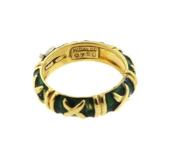 Hidalgo 18K Gold Diamond Green Enamel Band Ring - 3