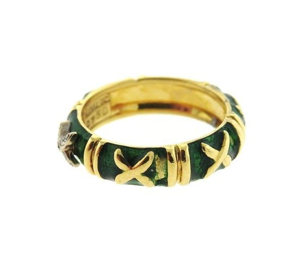 Hidalgo 18K Gold Diamond Green Enamel Band Ring - 4