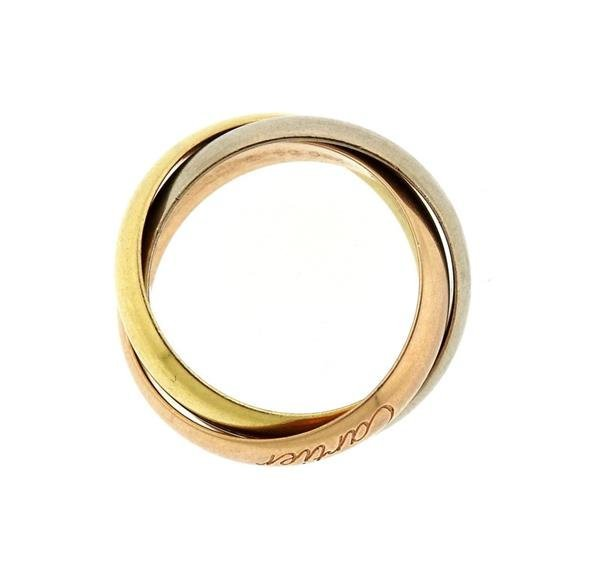Wide Cartier Trinity 18K Tri Color Gold Ring - 2