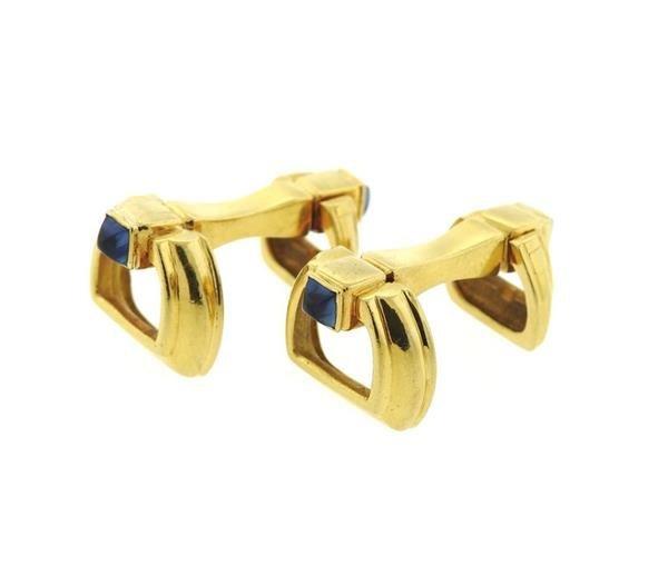 Mid Century 18K Gold Sapphire Cufflinks