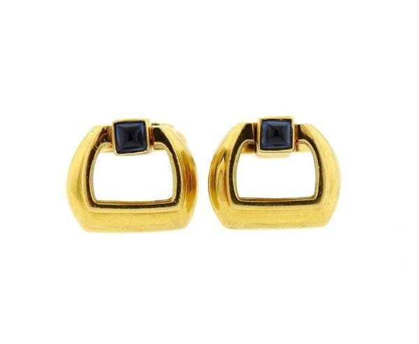 Mid Century 18K Gold Sapphire Cufflinks - 2
