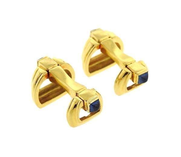 Mid Century 18K Gold Sapphire Cufflinks - 3