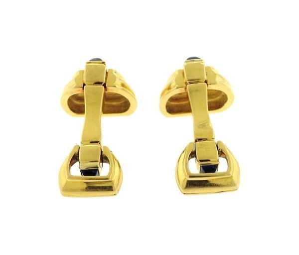 Mid Century 18K Gold Sapphire Cufflinks - 4