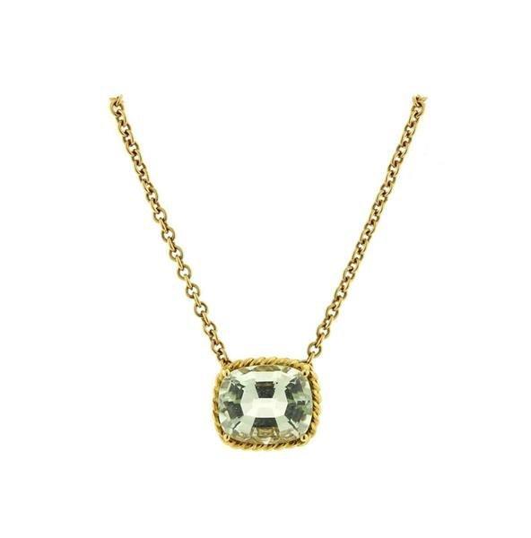Vera Wang 18K Gold Green Stone Slide Pendant Necklace