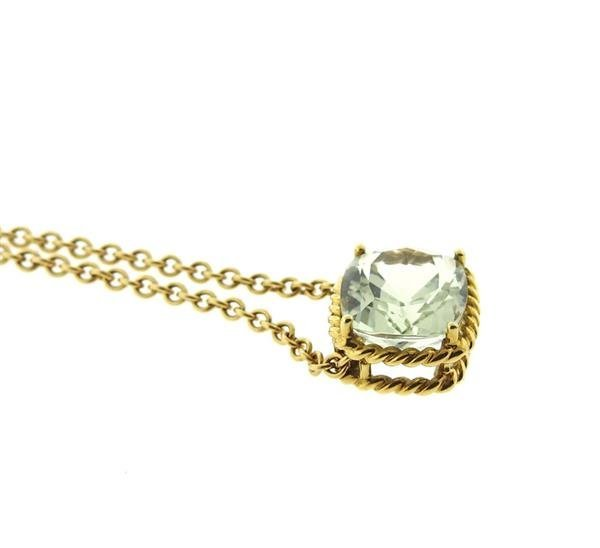 Vera Wang 18K Gold Green Stone Slide Pendant Necklace - 2