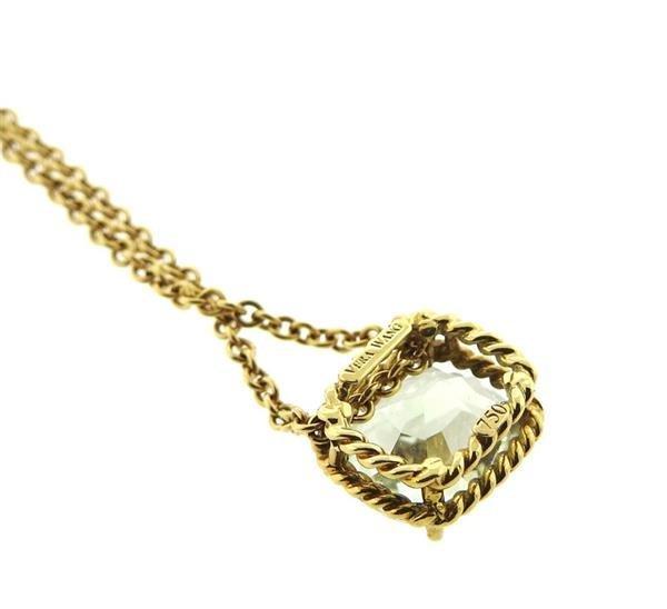 Vera Wang 18K Gold Green Stone Slide Pendant Necklace - 3