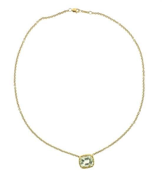 Vera Wang 18K Gold Green Stone Slide Pendant Necklace - 4