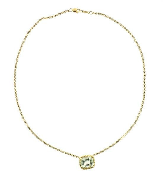 Vera Wang 18K Gold Green Stone Slide Pendant Necklace - 4