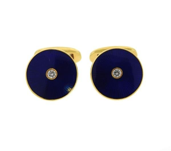 Faberge 18K Gold Diamond Blue  Enamel Cufflinks