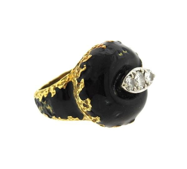 Cartier 1970s 18K Gold Diamond Enamel Dome Ring - 2