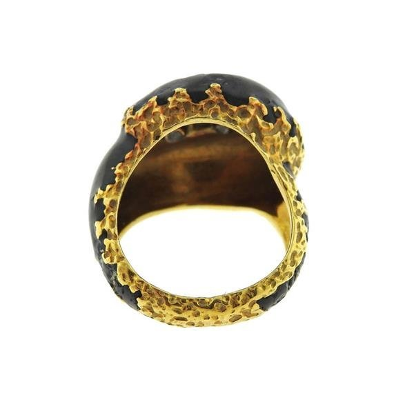 Cartier 1970s 18K Gold Diamond Enamel Dome Ring - 4