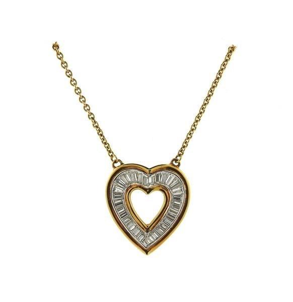 18K Gold Diamond Heart Pendant Necklace