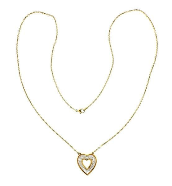 18K Gold Diamond Heart Pendant Necklace - 4