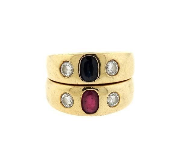 14K Gold Diamond Ruby Sapphire Gypsy Ring Lot of 2 - 2
