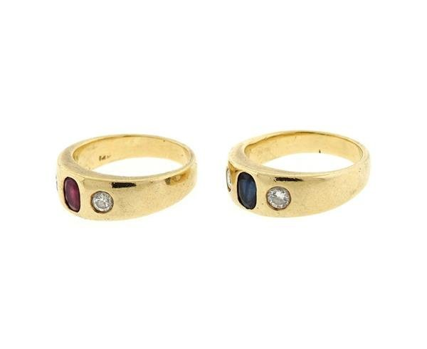 14K Gold Diamond Ruby Sapphire Gypsy Ring Lot of 2 - 3