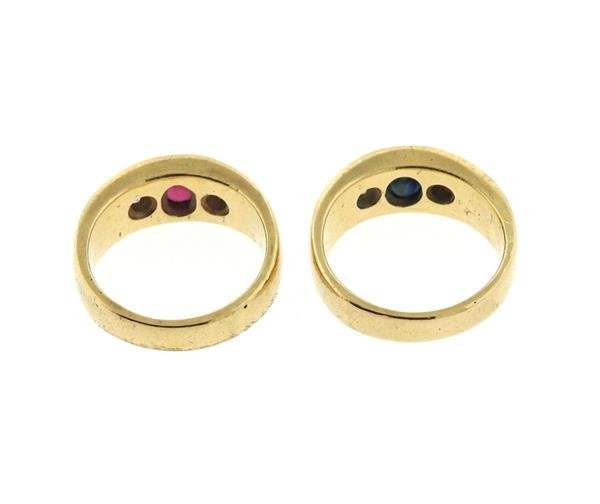 14K Gold Diamond Ruby Sapphire Gypsy Ring Lot of 2 - 4