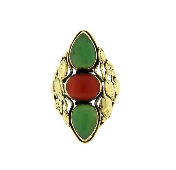 14k Gold  Jade Coral Ring