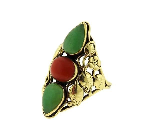 14k Gold  Jade Coral Ring - 2