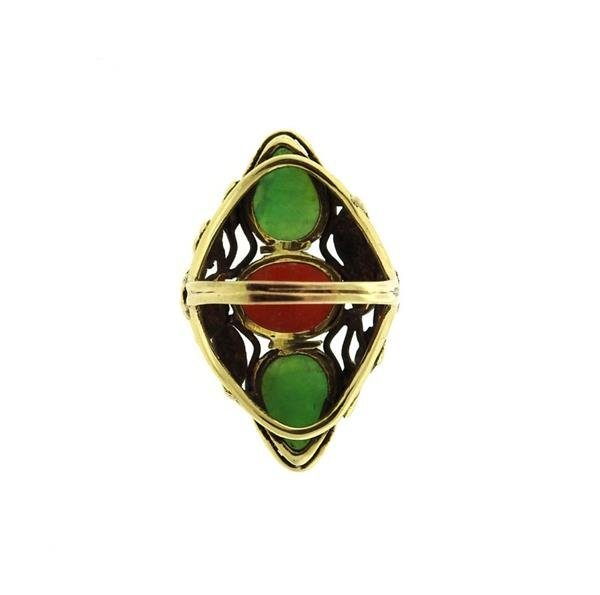 14k Gold  Jade Coral Ring - 3