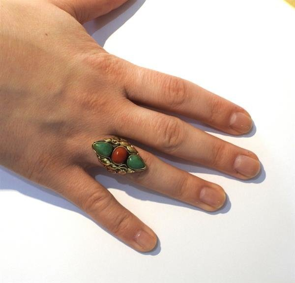 14k Gold  Jade Coral Ring - 4