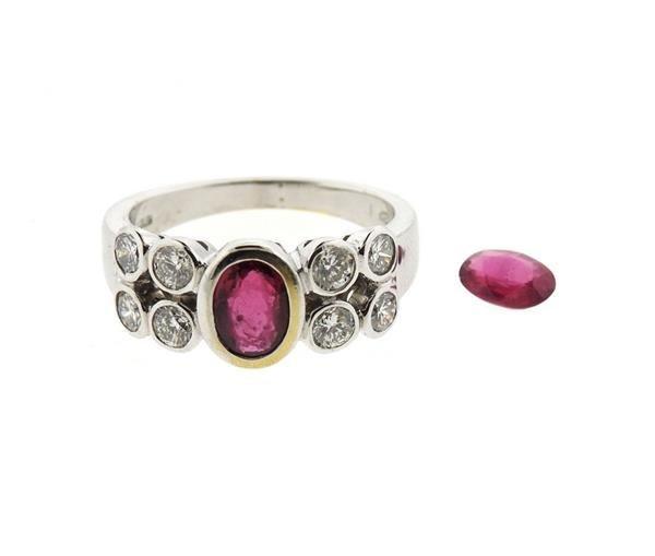18k Gold Ruby Diamond Ring - 2