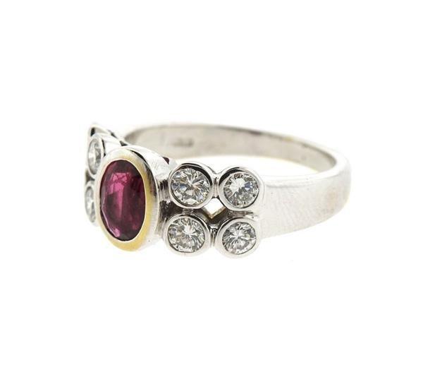 18k Gold Ruby Diamond Ring - 3