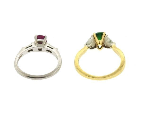 C.D. Peacock Platinum 18k Gold Ruby Emerald Diamond - 3